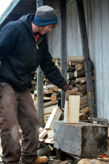 chopping wood for the stove