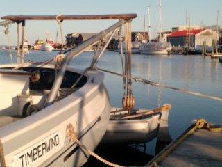 Quarter view of a pretty boat and a pretty town.