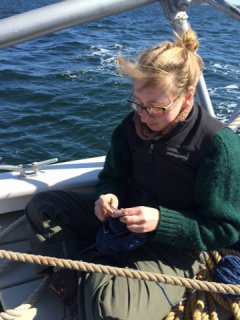 Cassie.  Knitting.  On a boat.  Two of the best things in life.