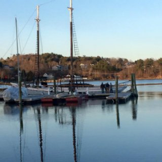 Save and sound at her new dock, Thompson's Wharf in Belfast, Maine.